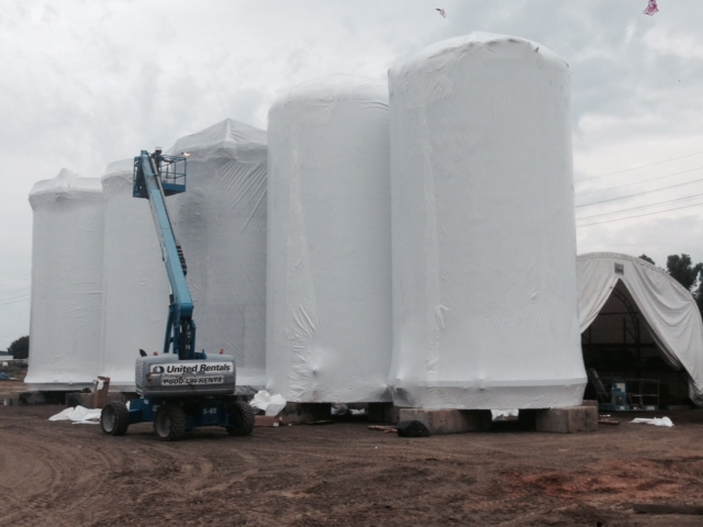 Industrial wrapping of 5 tanks wrapped completed using lift